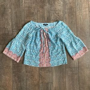 Nanette Lepore 100% Silk Boho Tie-Front Blouse
